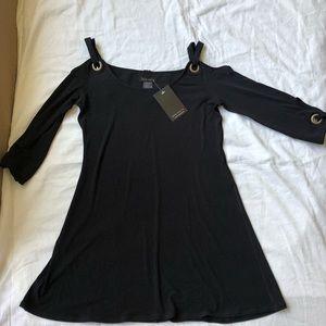 Eva Varro Black off the shoulder long sleeve dress